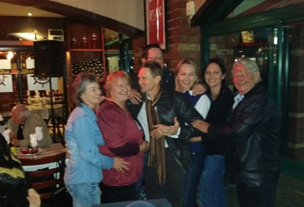 Happy Birthday to Piere! From the left are his sister Liesl, Mom Tilly, Piere, sisters Cindy and Tanya, Dad Hekkie and brother Jacques at the back.